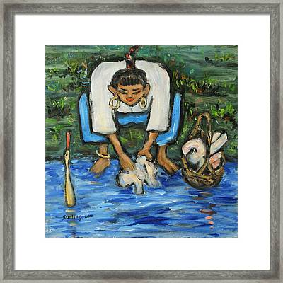 Framed Print featuring the painting Laundry Girl by Xueling Zou