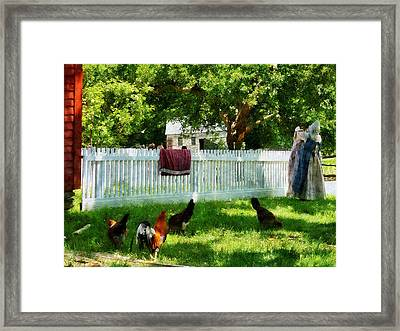 Laundry Hanging On Fence Framed Print