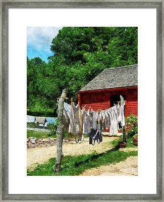 Laundry Hanging On Line Framed Print