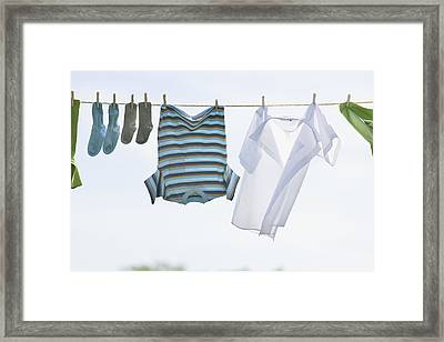 Laundry Hanging On Outdoor Clothesline Framed Print by Bruno Crescia