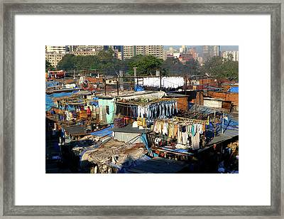 Laundry Hanging To Dry At The Dhobi Framed Print by Jill Schneider