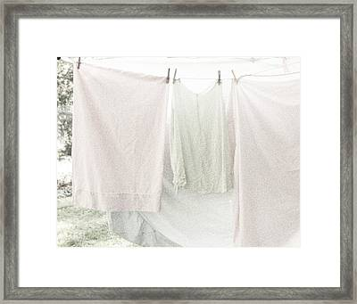 Laundry On The Line In Pink And Green Framed Print