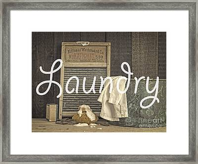 Laundry Room Sign Framed Print by Edward Fielding