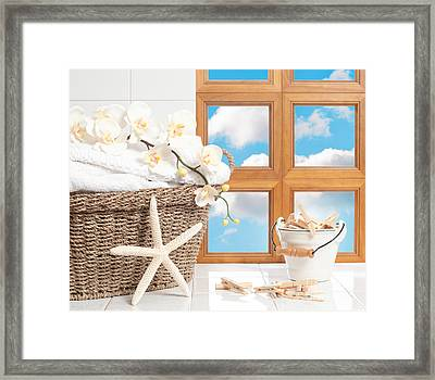 Laundry With Pegs Framed Print