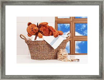 Laundry With Teddy Framed Print