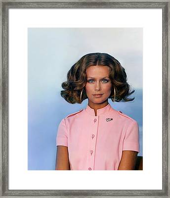 Laura Hutton Wearing A David Crystal Dress Framed Print by Arnaud de Rosnay