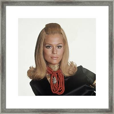 Laura Hutton Wearing Tiffany Necklaces Framed Print by Bert Stern