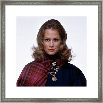Laura Hutton Wearing Van Cleef & Arpel Necklaces Framed Print by Gianni Penati