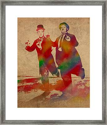 Laurel And Hardy Classic Comedians Watercolor Portrait On Worn Distressed Canvas Framed Print