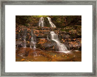 Laurel Falls In Great Smoky Mountains National Park In Autumn Framed Print by Dan Sproul