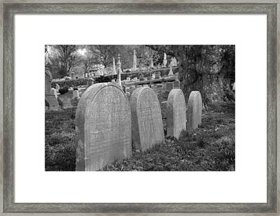 Laurel Hill Headstones Framed Print by Jennifer Ancker