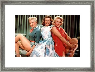 Lauren Bacall Marilyn Monroe Betty Grable Painting Framed Print