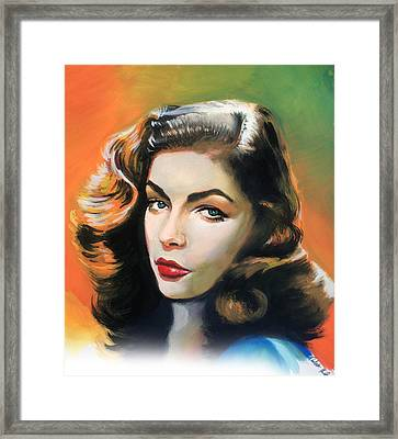 Lauren Bacall Framed Print by Robert Korhonen