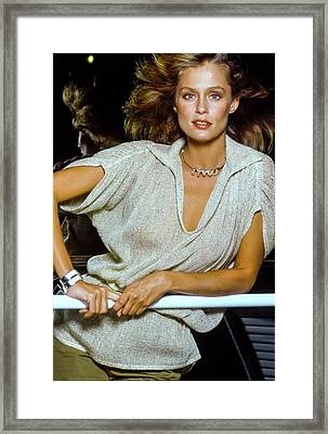 Lauren Hutton Wearing Beige Framed Print