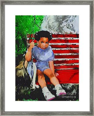 Framed Print featuring the painting Lauren On The Swing by Vannetta Ferguson
