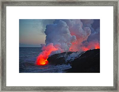 Lava Flow At Sunset In Kalapana Framed Print by Venetia Featherstone-Witty