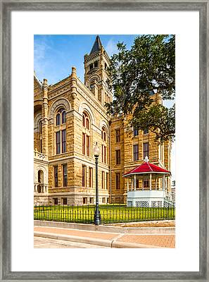 Lavaca County Courthouse - Hallettsville Texas Framed Print by Silvio Ligutti