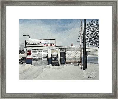 Lave-auto Du Port On Wellington St. Framed Print by Reb Frost