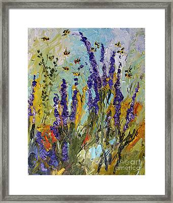 Lavender And Bees Provence Framed Print by Ginette Callaway