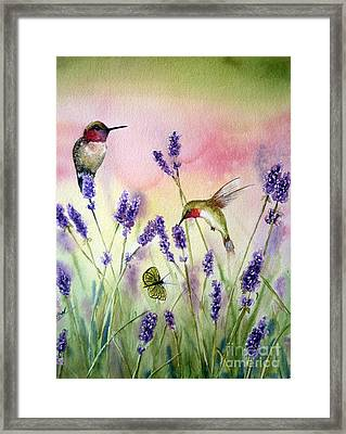 Lavender And Hummingbirds Framed Print by Patricia Pushaw