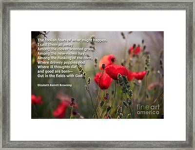 Lavender And Poppies With Poetry Framed Print