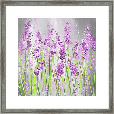 Lavender Blossoms - Lavender Field Painting Framed Print by Lourry Legarde