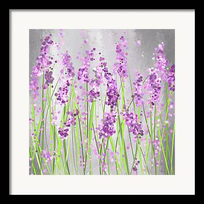 Purple And Green Framed Prints
