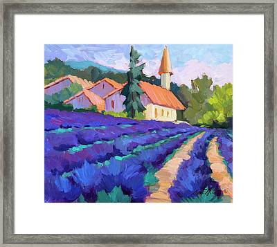 Lavender Field In St. Columne Framed Print by Diane McClary