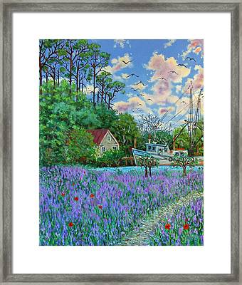 Framed Print featuring the painting Lavender Field Next To The Creek by Dwain Ray