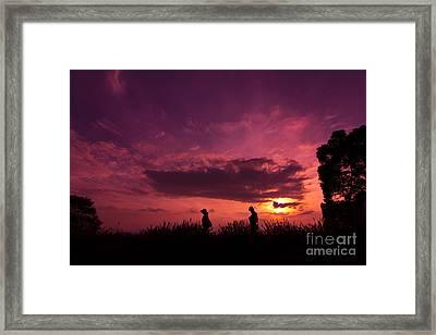 Lavender Field Sunset At Kuki In Saitama Framed Print by Beverly Claire Kaiya