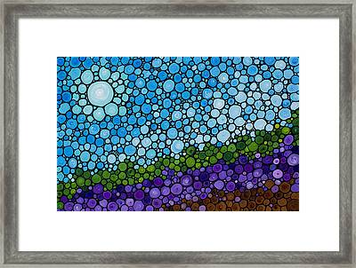 Lavender Fields - France French Landscape Art Framed Print by Sharon Cummings