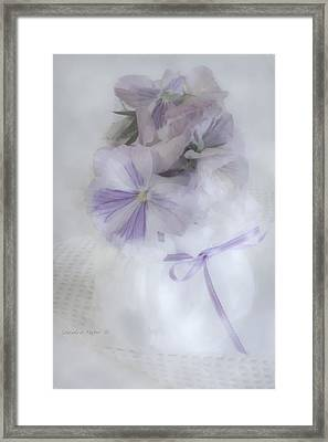 Lavender Pansies In Ribboned Pot Framed Print