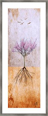 Lavender Redbud And Birds Framed Print by Marc Ward Photography