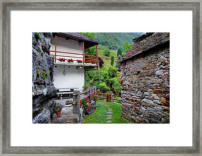 Lavertezzo In Summer Framed Print by Julia Fine Art And Photography