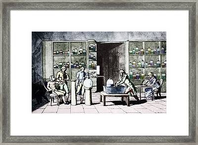 Lavoisier Respiration Experiment Framed Print by Science Photo Library