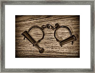 Law Enforcement - Antique Handcuffs - Black And White Framed Print