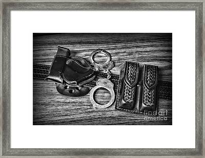 Law Enforcement - Police - Duty Belt In Black And White Framed Print