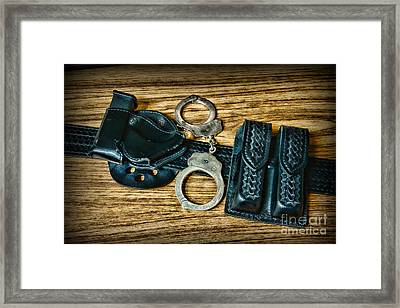 Law Enforcement - Police -duty Belt Framed Print by Paul Ward