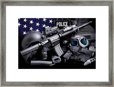 Law Enforcement Tactical Police Framed Print by Gary Yost