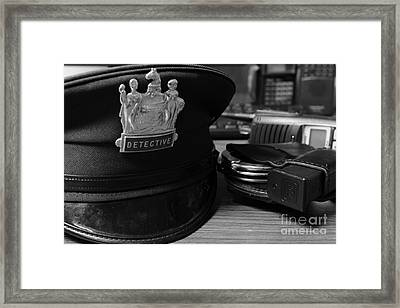 Law Enforcement - The Detective In Black And White Framed Print