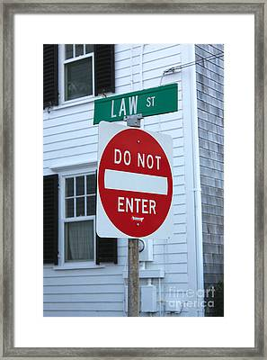 Law Street Do Not Enter Framed Print by Jannis Werner