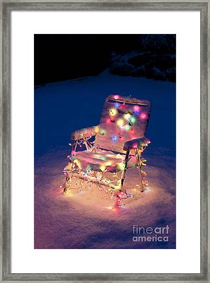Lawn Chair With Christmas Lights Framed Print by Jim Corwin
