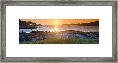 Lawn Chairs At Sunrise At Lobster Framed Print by Panoramic Images
