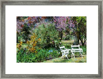 Lawn Chairs In The Garden Framed Print