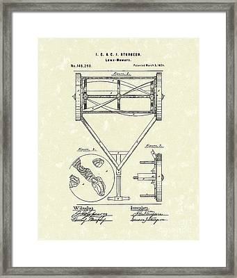 Lawn Mower 1874 Patent Art  Framed Print