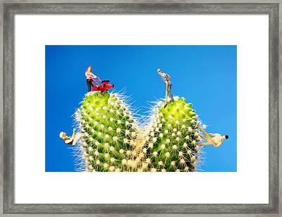 Lawn Mowing On Cactus II Framed Print by Paul Ge