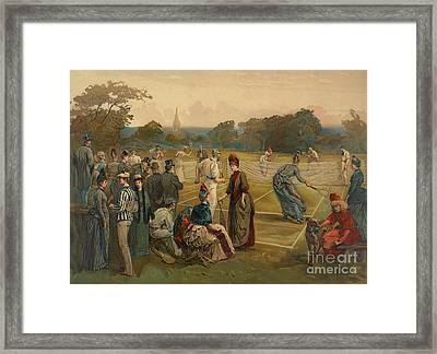 Lawn Tennis 1887 Framed Print by Padre Art