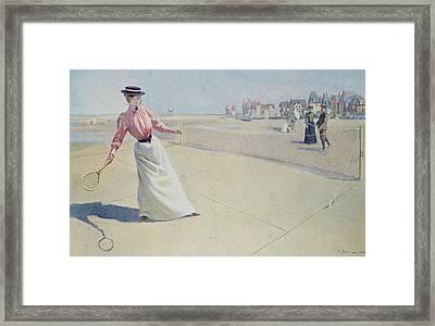Lawn Tennis On The Normandy Coast  Framed Print by Albert Lynch