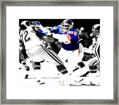 Lawrence Taylor Out Of My Way Framed Print by Brian Reaves