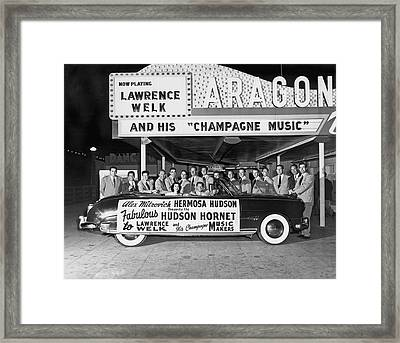 Lawrence Welk In His Hudson Framed Print by Underwood Archives